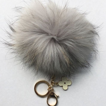 Light Gray red with natural markings Raccoon Fur Pom Pom luxury bag pendant + black flower clover charm keychain