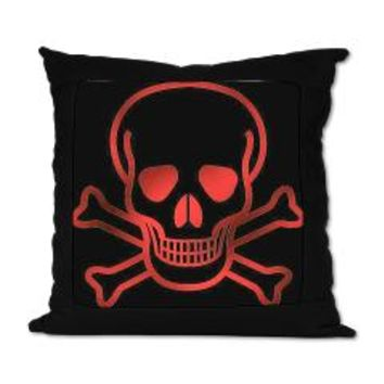 Red Skull And Crossbones Suede Pillow> Red Skull And Crossbones> Home Comforts