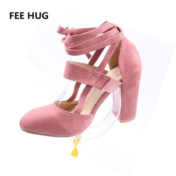 FEE HUG 2018 Summer Woman's Shoes High Heels Ankle Strap Sandals Sexy Stiletto Square Heeled Pumps Sandals Female Dress Shoes