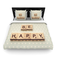 """Cristina Mitchell """"Be Happy"""" Woven Duvet Cover"""