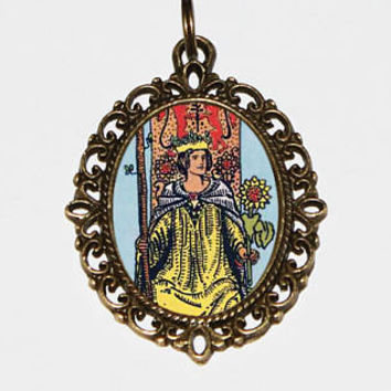 Queen Of Wands Necklace, Mystical, Occult, Tarot Card Jewelry, Bronze Oval Pendant