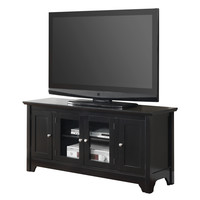 """52"""" Black Wood TV Stand Console"""