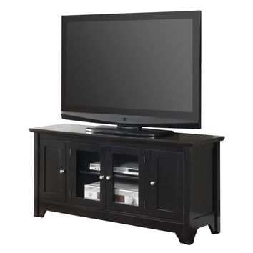 "52"" Black Wood TV Stand Console"