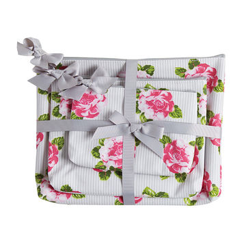 Peony Stripe 3pc Cosmetic Bag Gift Set