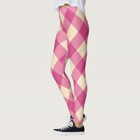 Pink & Yellow Checker Pattern Leggings