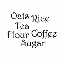 Coffee, Sugar, Oats, Flour, Tea, Rice Vinyl Decal Kitchen Wall Set, Storage Containers Labels, Kitchen Wall Decor, Script Fonts