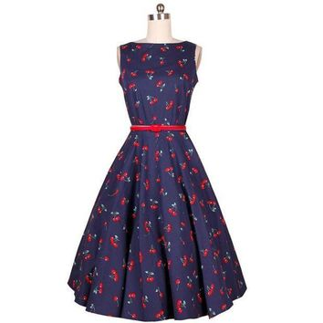 MDIGOK8 Cherry Floral Print Summer Dress Women Casual Audrey Hepburn Party Dress Retro Vintage Dresses Temperament Vestidos #A62022