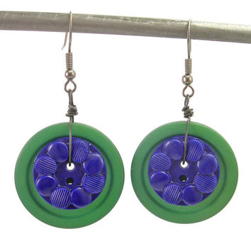 Green and Blue Vintage Button Earrings, Antique Button Earrings, Repurposed Jewelry, Button Jewelry