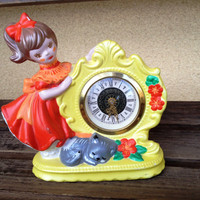 Vintage West Germany Clock -  Kentocs Clock - Little Girl and Cat Floral Clock  - Bedroom Decor Childs Room Clock Wind Up Ceramic Clock