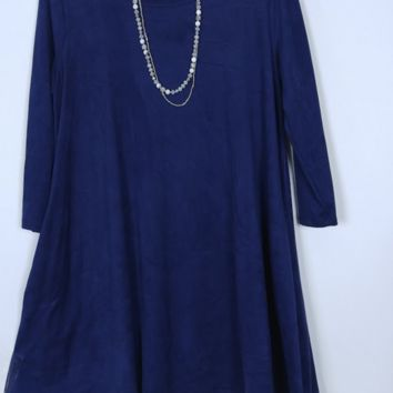 Tyche Faux Suede Swing Tunic - Navy