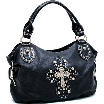 Women's Cross Accented Hobo Bag w/ Rhinestones, Studs, & Croco Trim - Orange Color: Orange