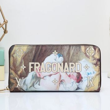 """Louis Vuitton"" Women Clutch Purse Fashion Oil Painting Letter Pattern Print Long Section Zip Wallet"