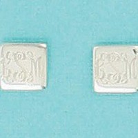 Monogrammed Small Square Earrings on Post | Preppy Jewelry | Custom