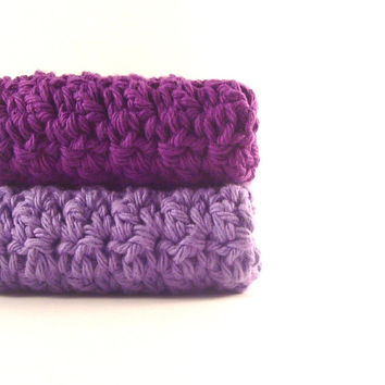 Cotton Crochet Dishcloths Wash cloths Radiant Orchid Purple Grape Violet crocheted rags dish cloths scrubbies