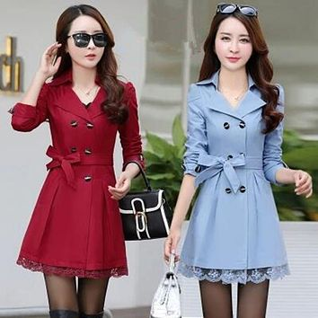 Women Trench Coats Autumn Fashion Bow Belted Coats Mid-Long Double Breasted Outerwear  Casual Overcoats C8130