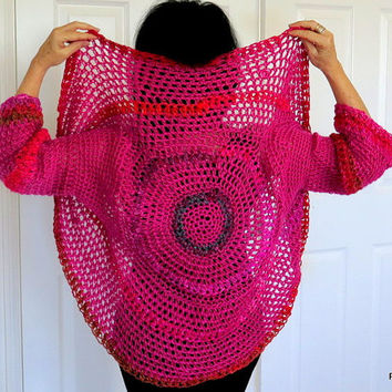 Pink circle shrug, color block crochet sweater, convertible sweater jacket, outerwear
