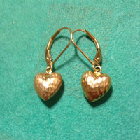 14K Heart Earrings Gold New Vintage Yellow Dangle Charms YG Estate Stamped Jewelry Bridal Gift Women Girl Hammered Polished Authentic