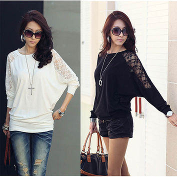 2016 Women Ladies Blousa Loose Batwing Dolman Lace Long Sleeve Casual Top T Shirt M XXL