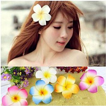 Hawaiian Plumeria Frangipani PE Foam Flower Hair clip 5cm Artificial Foam Flowers pins Floral Supplies Bride hair/dress