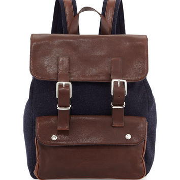 Buffalo Leather Backpack, Navy/Brown - Brunello Cucinelli