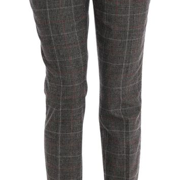 Gray Red Pattern Wool Straight Pants