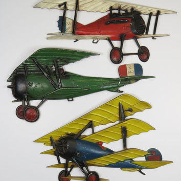 3 Sexton Cast Metal Airplane Wall Hangings WWI Biplane Boy's Bedroom Mancave