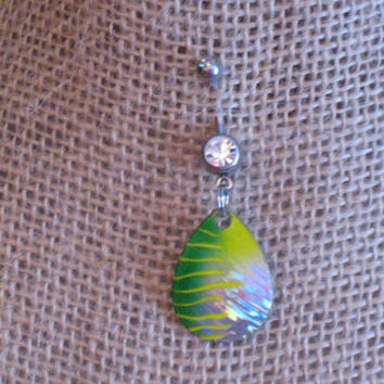 Neon Green/Yellow Fishing Lure Belly Ring