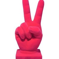 Hot Pink Velvet Peace Sign Hand Figurine