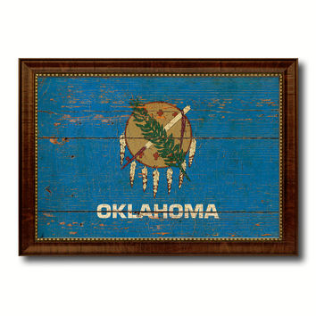 Oklahoma State Vintage Flag Canvas Print with Brown Picture Frame Home Decor Man Cave Wall Art Collectible Decoration Artwork Gifts
