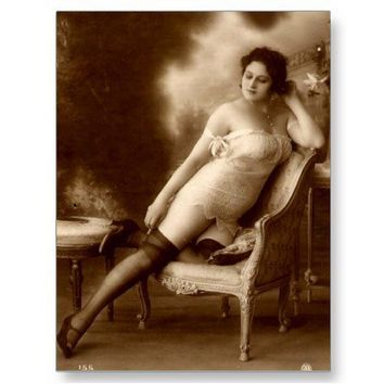 Vintage Naughty French Pin Up Girl Photograph Postcard from Zazzle.com