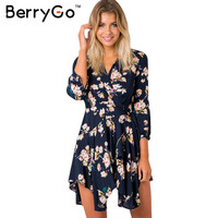 BerryGo Irregular floral print short dress Women sexy v neck bow boho dress Autumn winter elegant party club dress vestidos