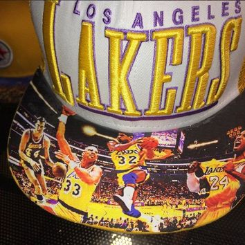 Los Angeles Lakers Authentic New Era Snapback or Fitted Cap with Lakers Dynasty custom