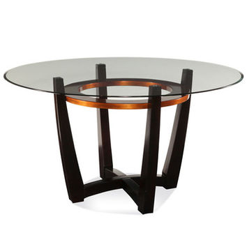 Bassett Mirror Elation Round Glass Top Dining Table
