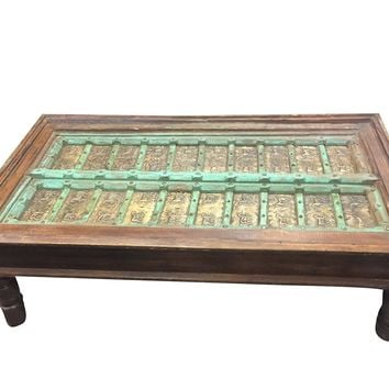 Antique Coffee Table Brass Horse Carved Chai Tables Green Rustic Indian Mediterranean Chic Bohemian Decor
