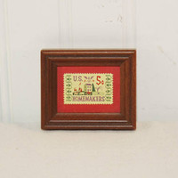 Vintage Five Cent Homemakers Wood Framed Stamp (c. 1964) Small Framed Vintage Stamp, Collectible Stamp, Gift Idea, Folk Art Stamp
