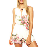 open back chiffon floral romper womens Summer playsuits jumpsuit summer cute feminino vestidos female overalls Clothing