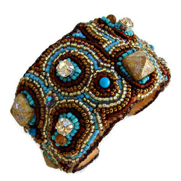 Bead embroidery cuff bracelet with studs, pearls and crystals. Seed beads jewelry