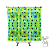 Bluegrass, Shower Curtain, Blue, green, BOHO, Printed, Fabric, Bath Decor, Home Decor, Funky, Abstract, Art, by Ingrid Padilla