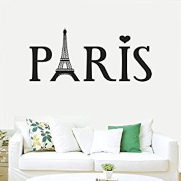Wall Decal Vinyl Sticker Decals Art Decor Design Sign Paris Eiffel Tower City France i Love Heart Country Europe Living Room Bedroom (r406)