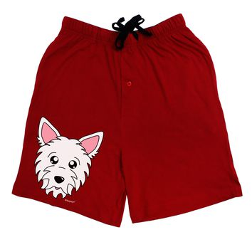 Cute West Highland White Terrier Westie Dog Adult Lounge Shorts - Red or Black by TooLoud