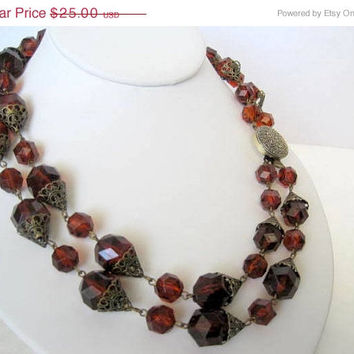 Topaz Lucite Necklace Root Beer 2 strands