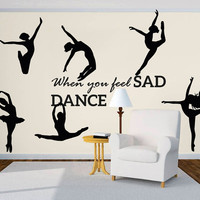 Wall Decal Vinyl Sticker Decals Art Decor Design Ballerina Gymnastics Ballet Dancer Custom Words Girl Sport Kids Bedroom Nursery(r601)