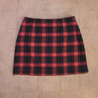 Vintage 90s Clueless Style Mini Skirt from The Limited, Red Plaid Skirt, Wool Plaid Skirt 1990s