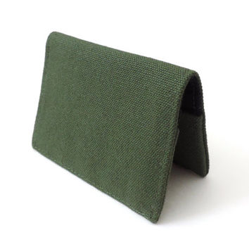 Canvas Fold Wallet Slim Bifold Wallet Green