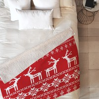 Natt Christmas Red Deer Fleece Throw Blanket