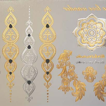 Gold Metallic Tattoos,Temporary Gold Tattoo, Silver Metallic Tattoos,Temporary Jewelry Tattoo