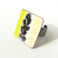 Statement cocktail ring yellow black beige enamel adjustable artisan OOAK by Alery bioteam
