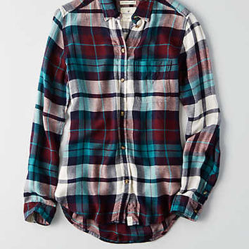 AEO Ahh-mazingly Soft Boyfriend Shirt, Burgundy