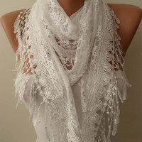 White Shawl Laced Fabric and Lace Trim Edge by SwedishShop on Etsy