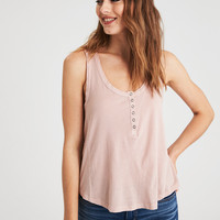 AE SOFT & SEXY DESTROY HENLEY TANK TOP, Blush